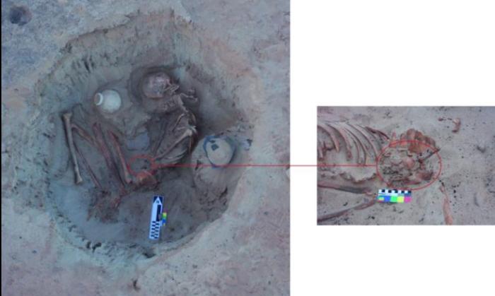 Останки беременной матери и ребенка. /Фото: nationalgeographic.com, снимок предоставлен Министерством древностей Египта.